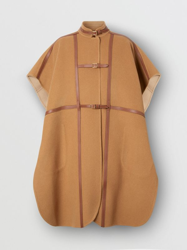 Leather Harness Detail Wool Blend Cape in Camel/honey - Women | Burberry - cell image 2