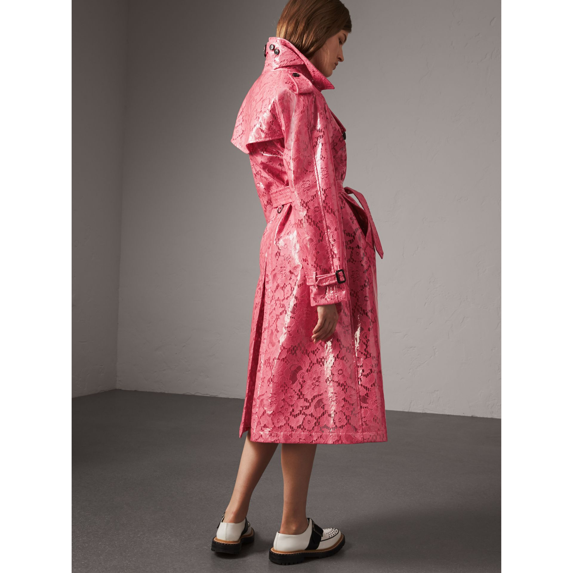 Laminated Lace Trench Coat in Bright Pink - Women | Burberry - gallery image 2