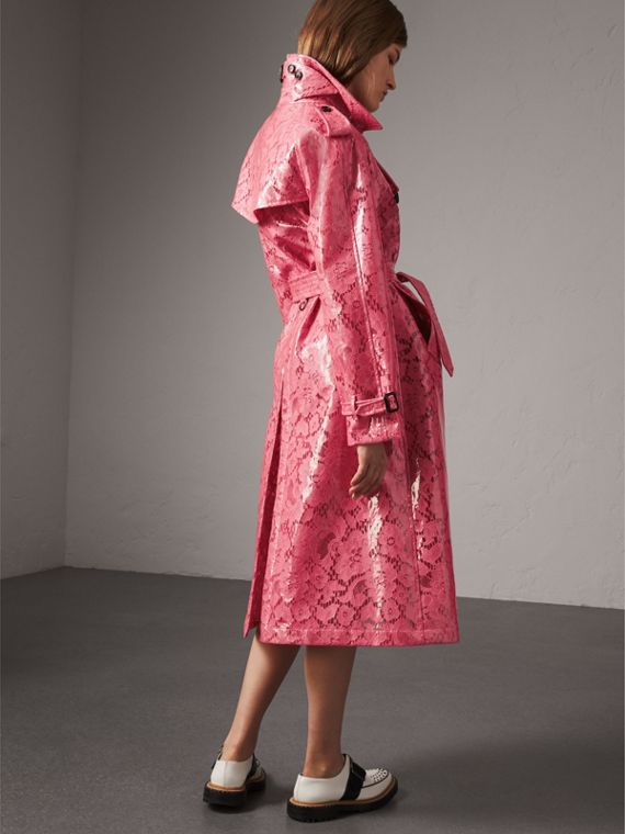 Laminated Lace Trench Coat in Bright Pink - Women | Burberry United States - cell image 2
