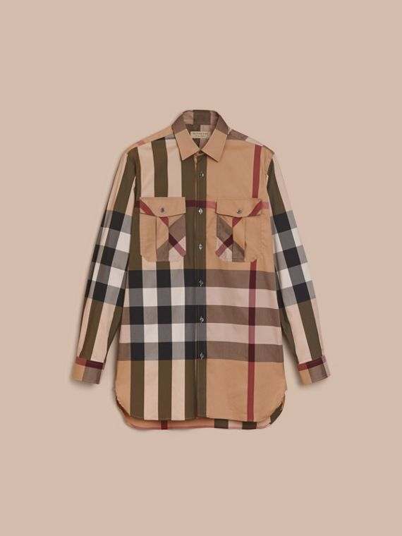 Check Cotton Blend Shirt with Military Detail - Men | Burberry - cell image 3