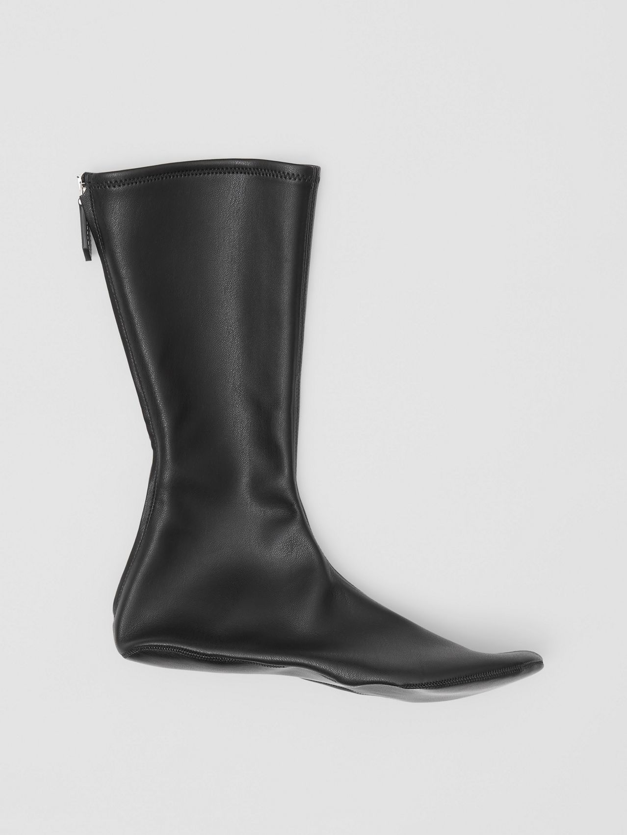 Faux Leather Mid-calf Socks in Black