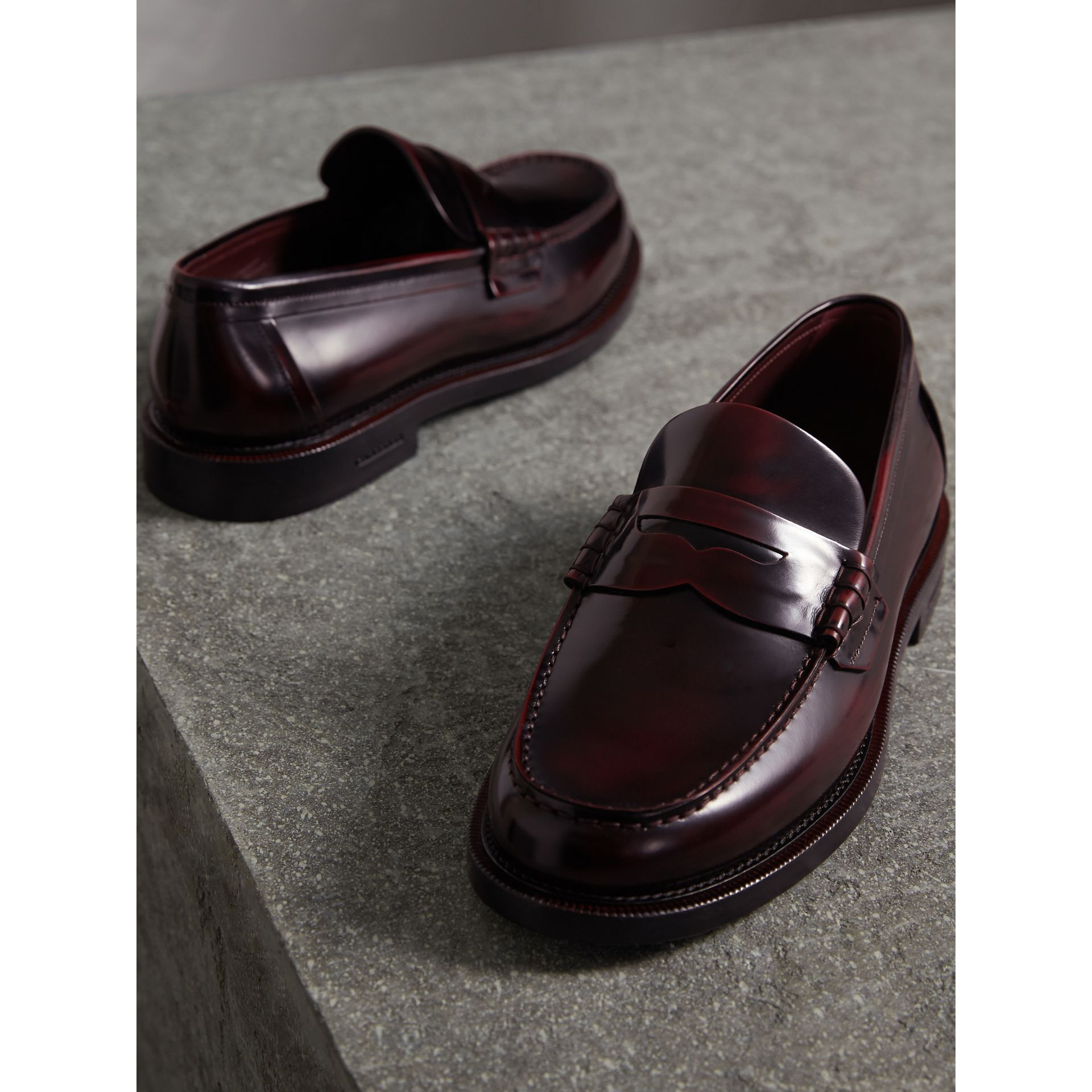 Leather Penny Loafers in Rust Red - Men | Burberry - gallery image 5