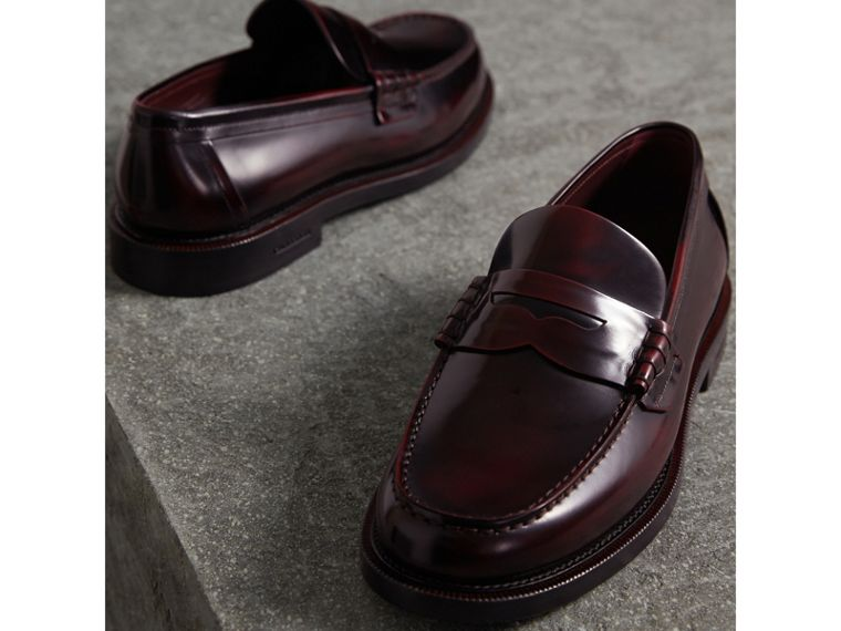 Leather Penny Loafers in Rust Red - Men | Burberry United Kingdom - cell image 4