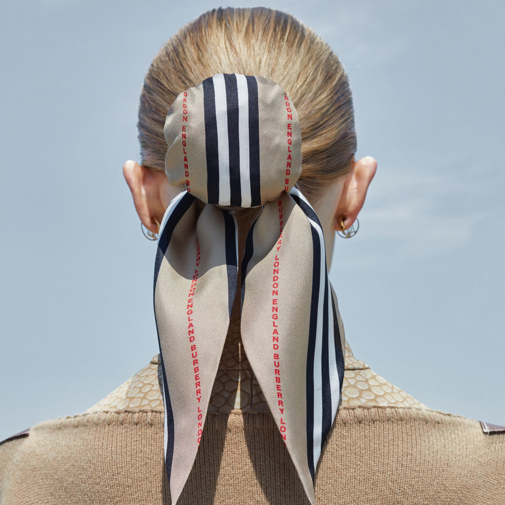 Icon Stripe Print Silk Hair Scarf in Archive Beige - Women   Burberry United States - gallery image 1