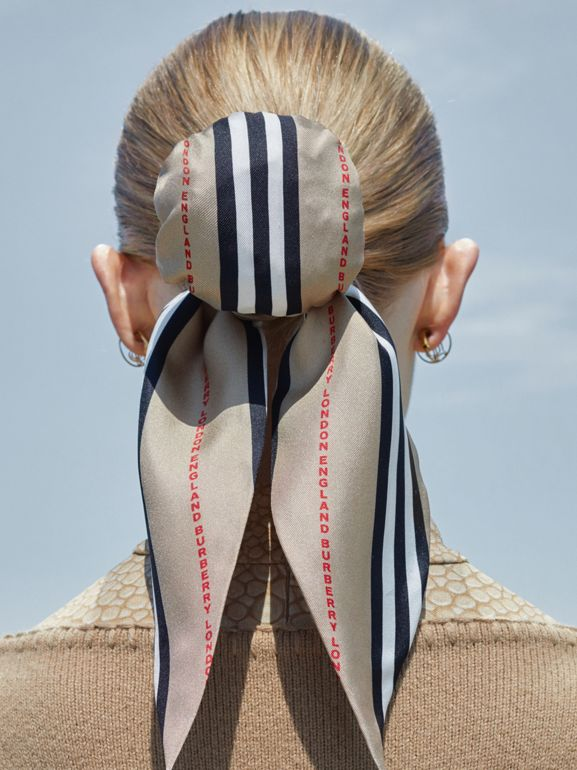 Icon Stripe Print Silk Hair Scarf in Archive Beige - Women   Burberry United States - cell image 1
