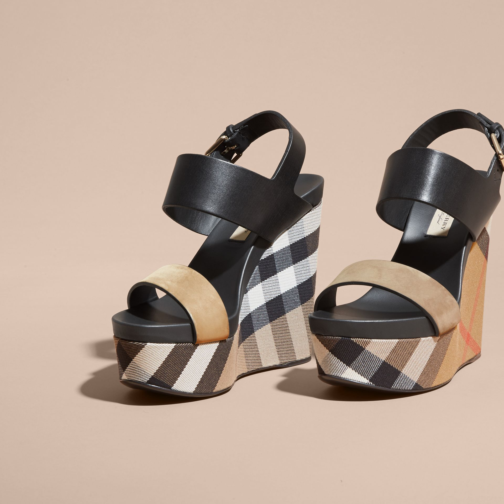 House Check Leather and Calf Suede Platform Wedges - Women | Burberry - gallery image 3