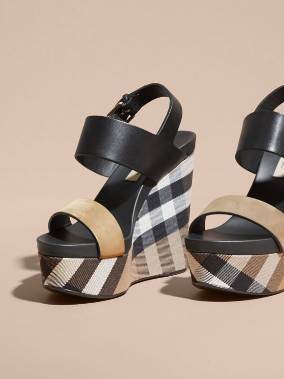 House Check Leather and Calf Suede Platform Wedges - Women | Burberry - cell image 2