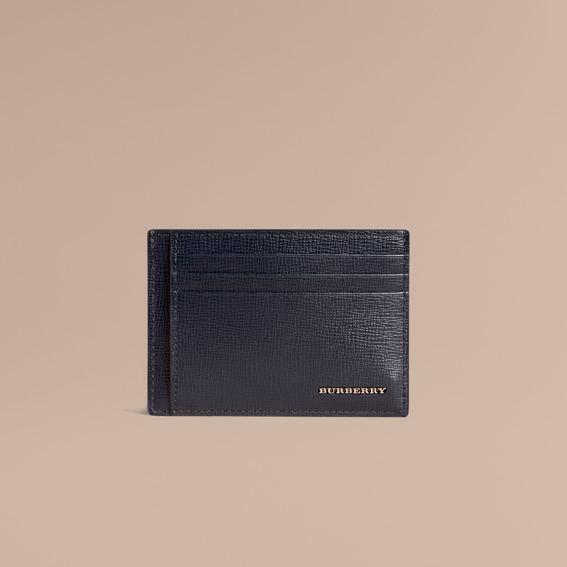 London Leather Money Clip Card Case in Dark Navy - Men | Burberry - gallery image 2