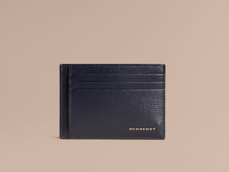 London Leather Money Clip Card Case in Dark Navy - Men | Burberry - cell image 1