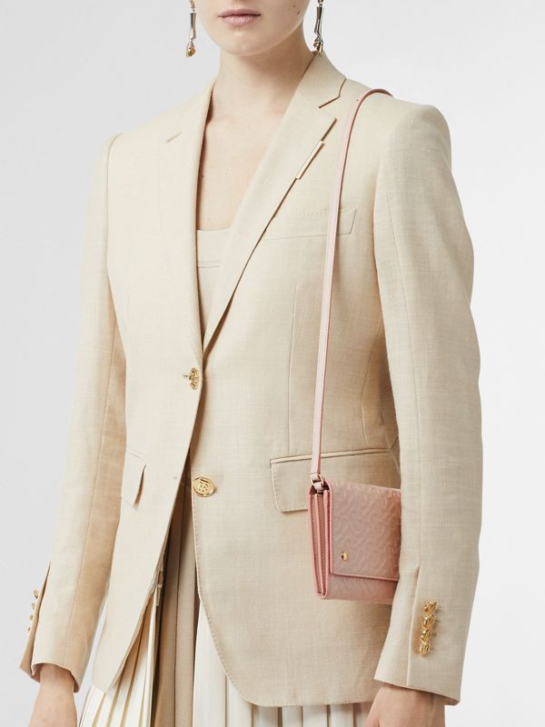 Monogram Leather Wallet with Detachable Strap in Rose Beige - Women | Burberry Singapore - cell image 2