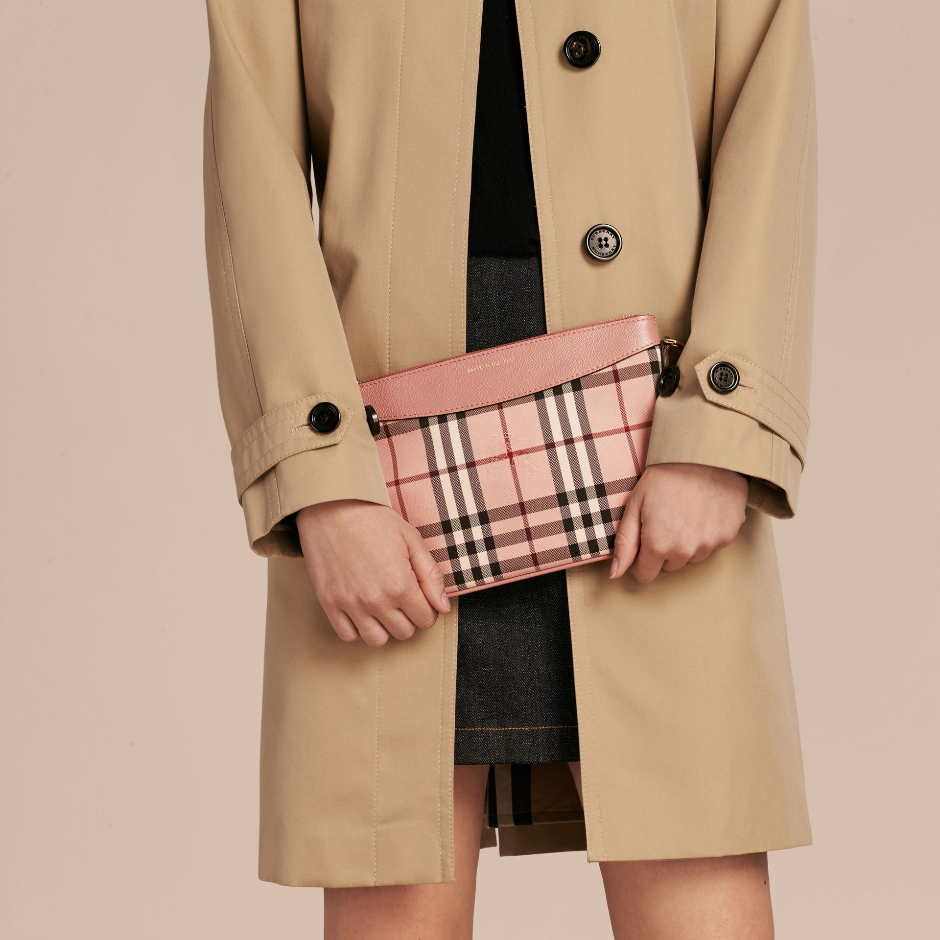 Ash rose/ dusty pink Horseferry Check and Leather Clutch Bag Ash Rose/ Dusty Pink - gallery image 4