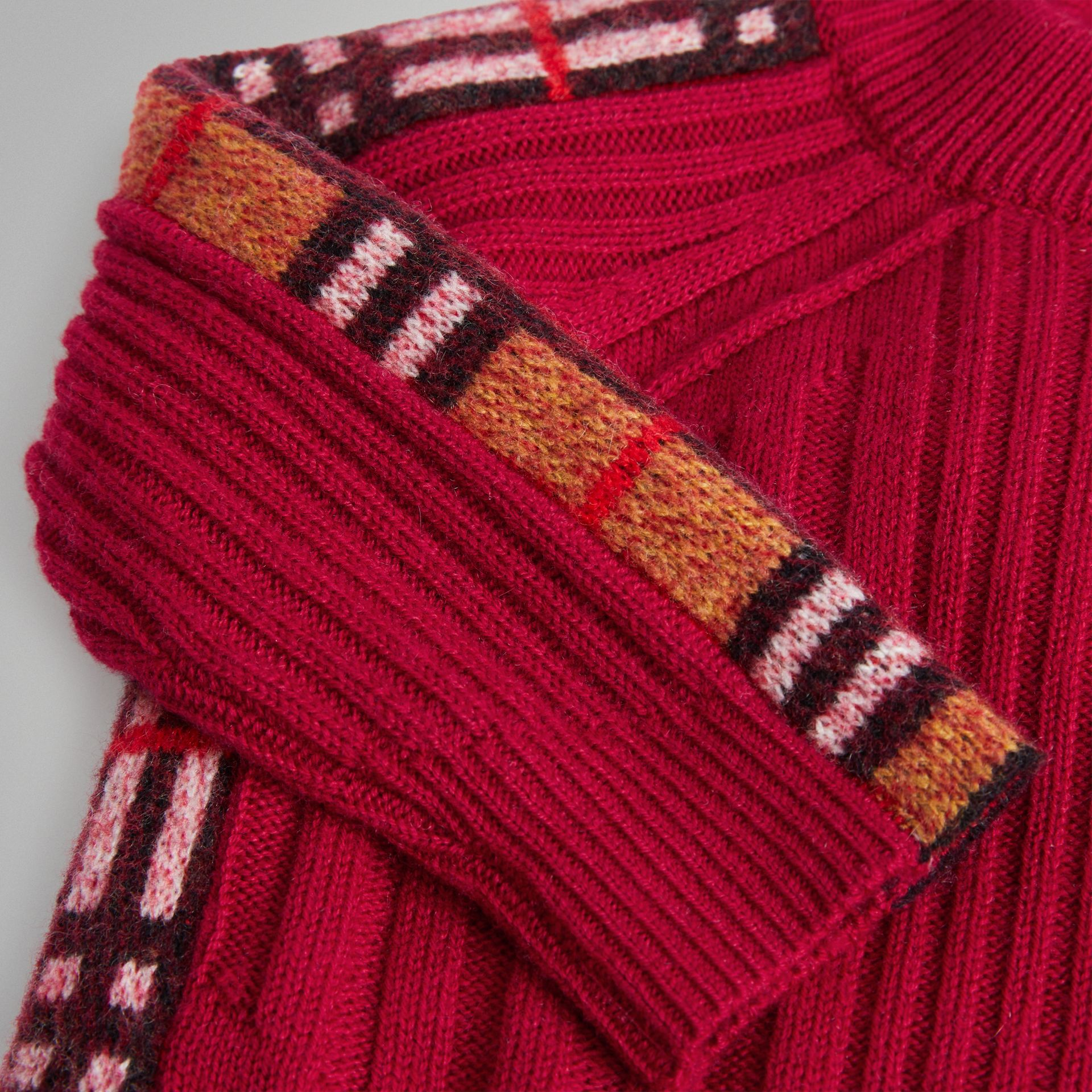 Check Detail Wool Cashmere Dress in Burgundy Red - Children | Burberry Singapore - gallery image 1
