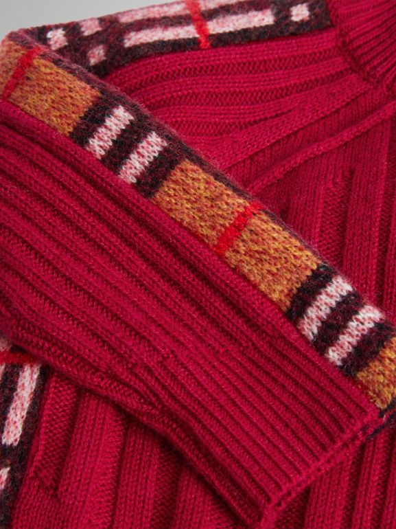 Check Detail Wool Cashmere Dress in Burgundy Red - Children | Burberry Canada - cell image 1