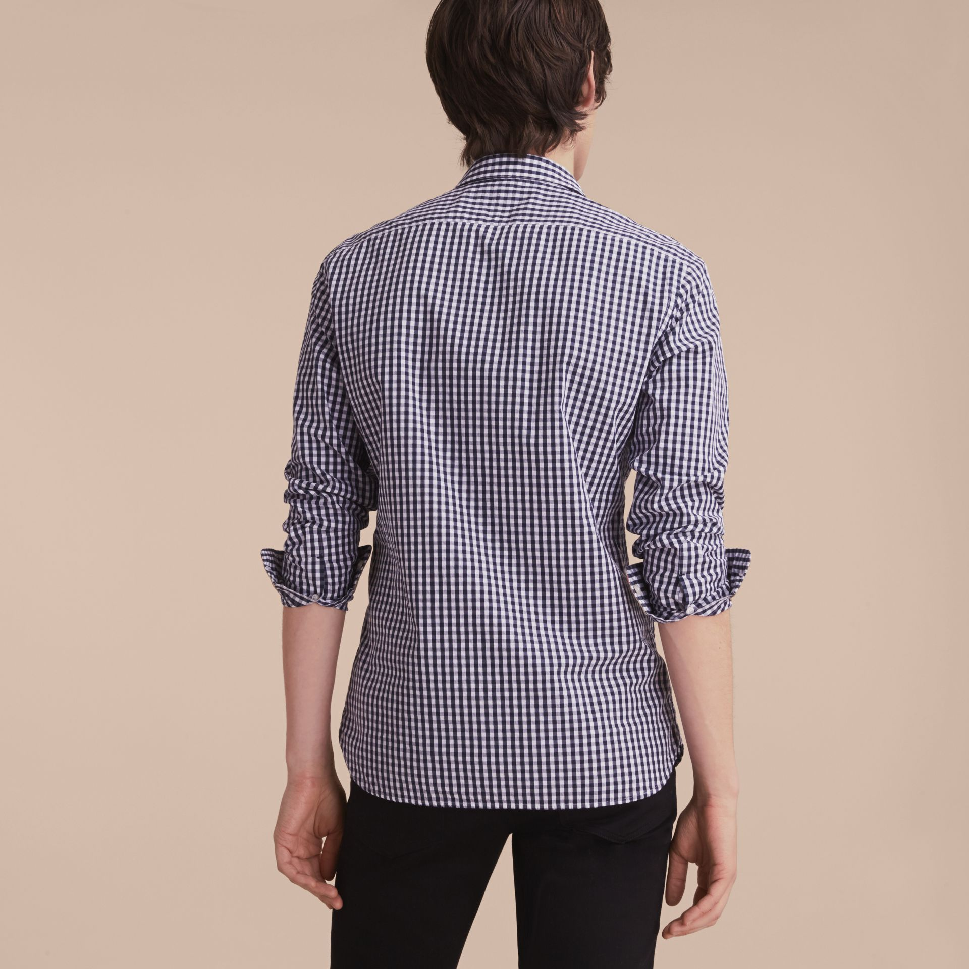 Gingham Cotton Poplin Shirt with Check Detail Ink Blue - gallery image 3