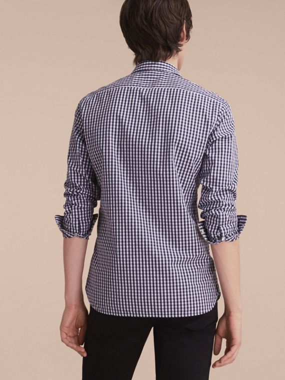 Gingham Cotton Poplin Shirt with Check Detail Ink Blue - cell image 2