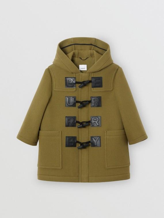 Logo Detail Wool Cashmere Blend Duffle Coat in Oregano