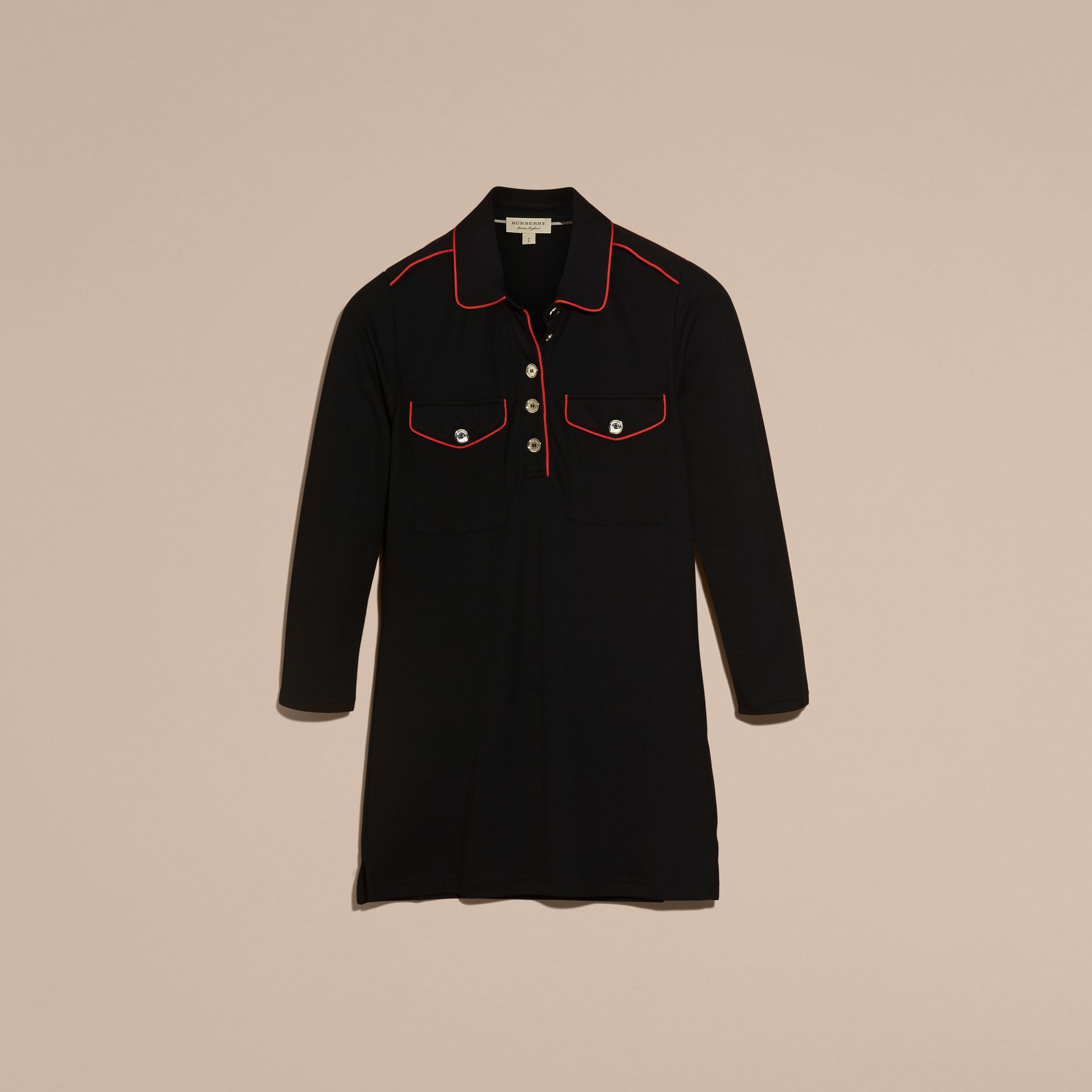 Black Fitted Polo Shirt with Regimental Piping Black - gallery image 4
