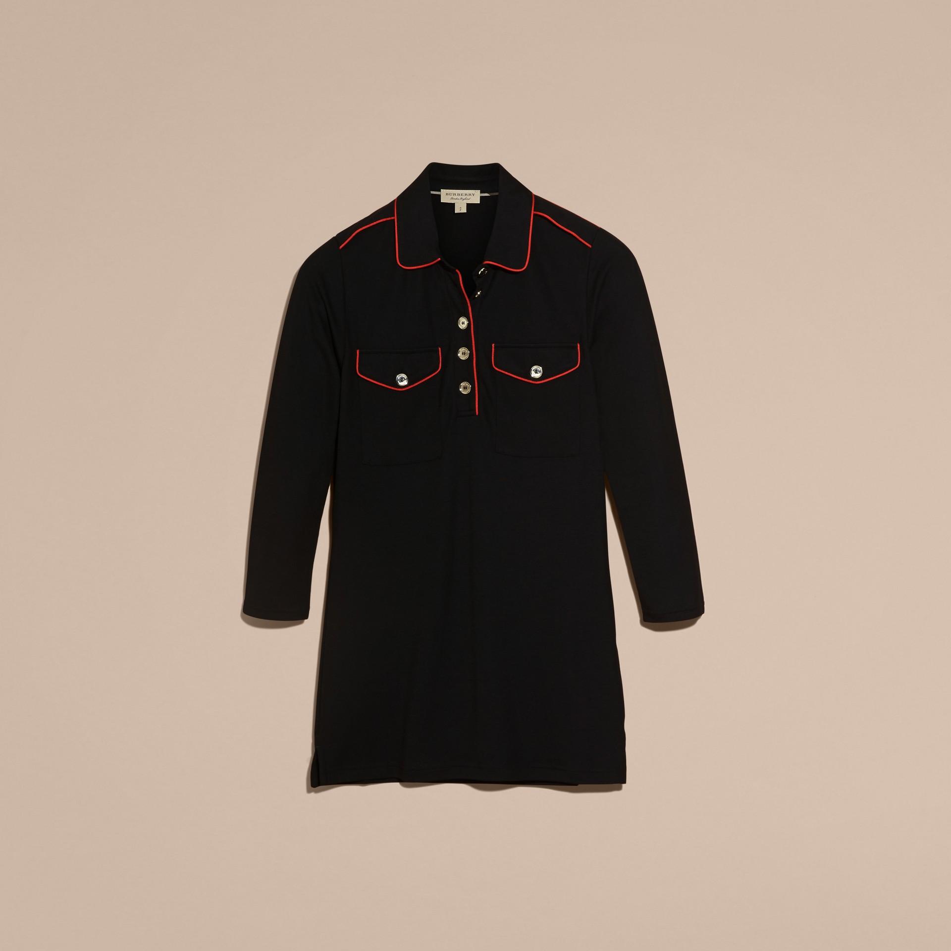 Noir Polo ajusté avec passepoils militaires Noir - photo de la galerie 4