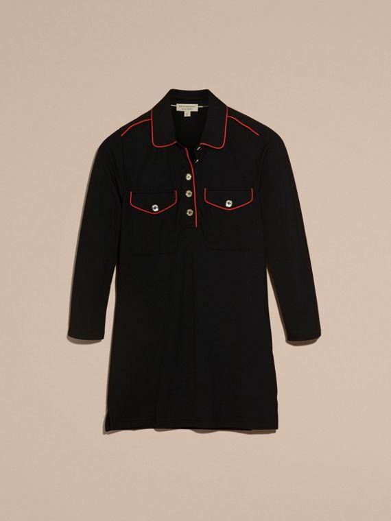 Black Fitted Polo Shirt with Regimental Piping Black - cell image 3