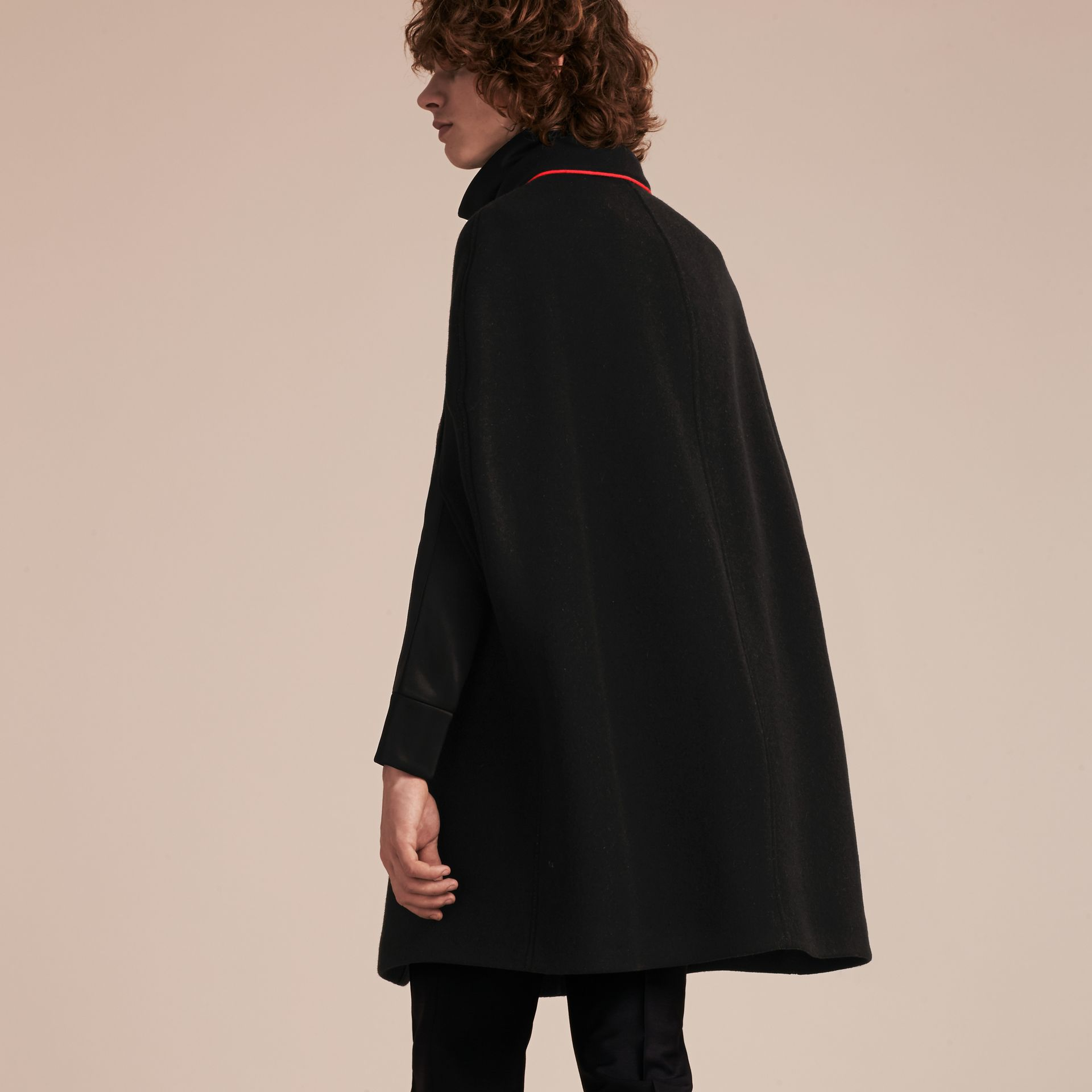 Black Wool Cashmere Blend Military Cape Coat - gallery image 3