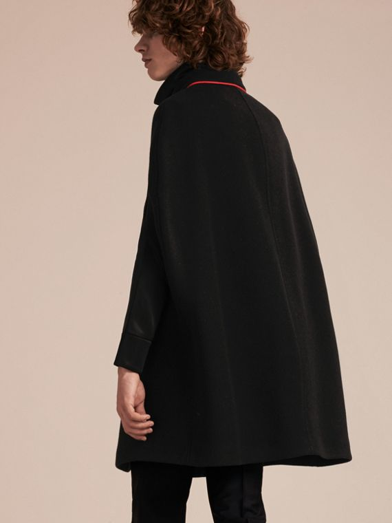 Black Wool Cashmere Blend Military Cape Coat - cell image 2