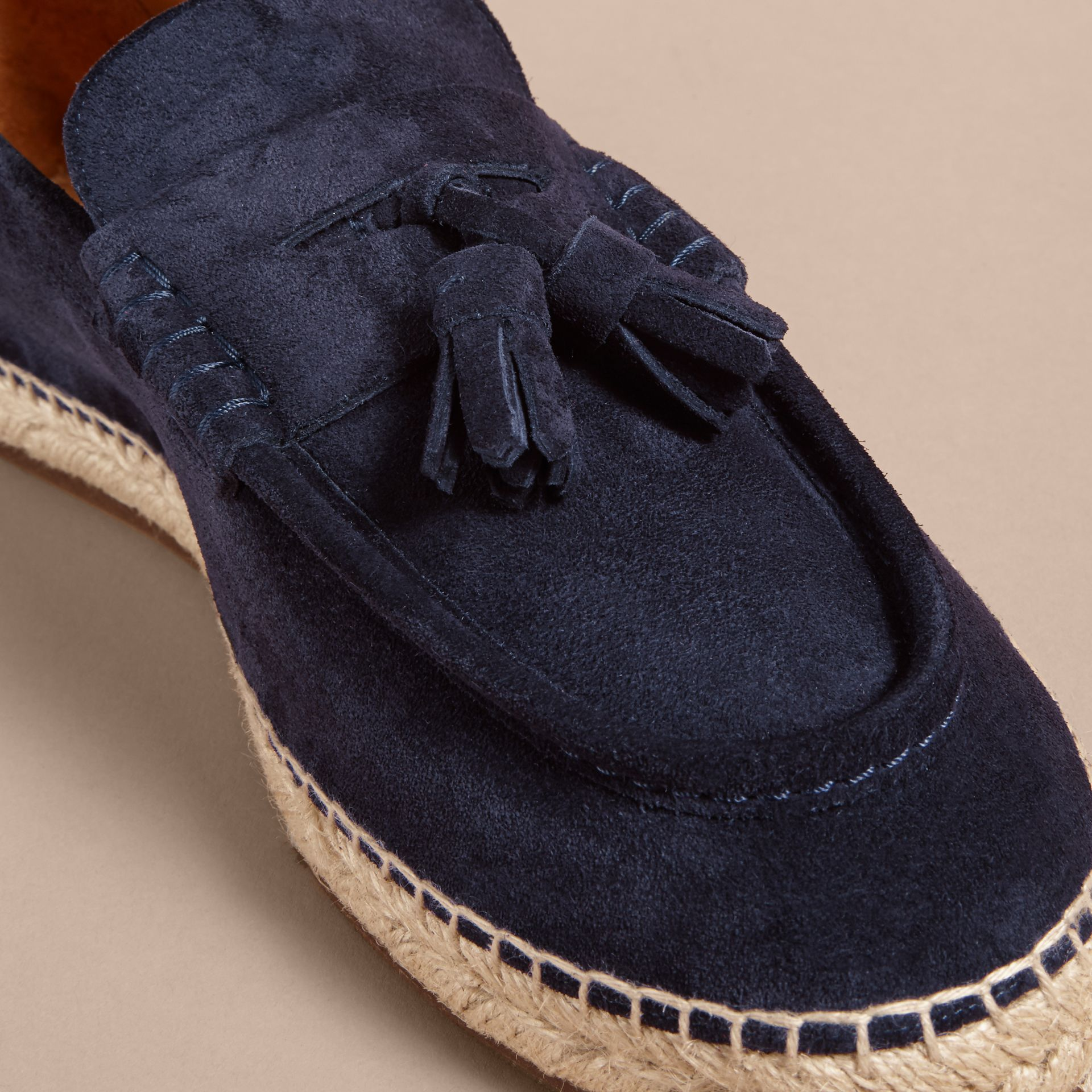 Tasselled Suede Espadrille Loafers Midnight Blue - gallery image 2