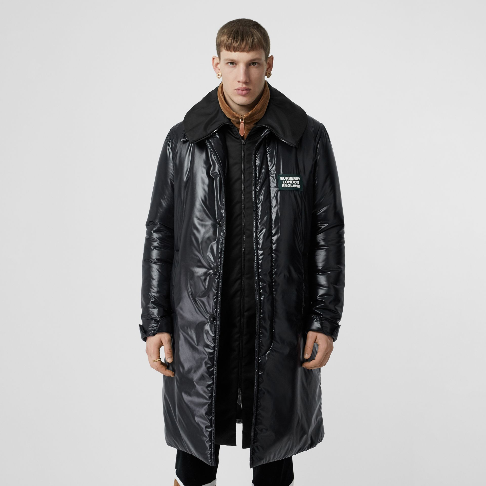 Detachable Funnel Neck Padded Nylon Car Coat in Black - Men | Burberry - gallery image 3