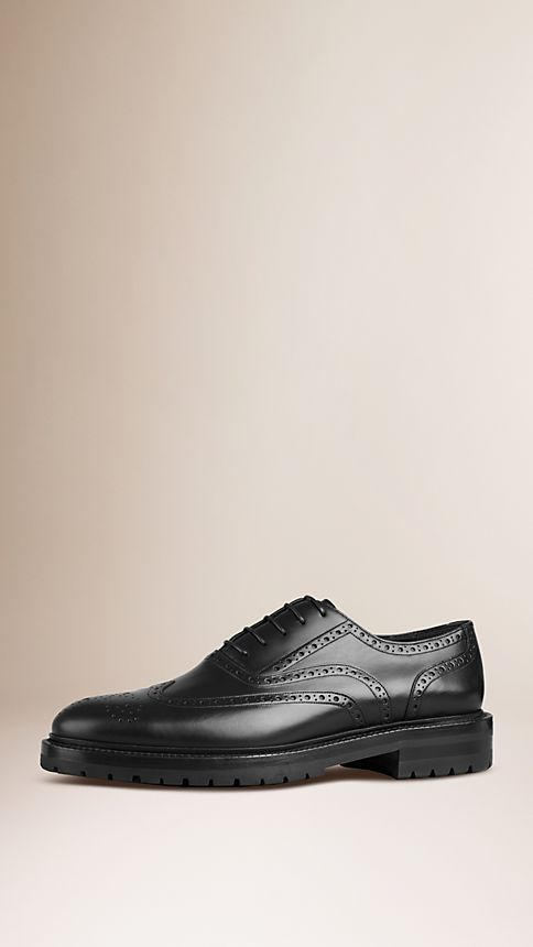 Black Leather Wingtip Brogues With Rubber Sole - Image 1