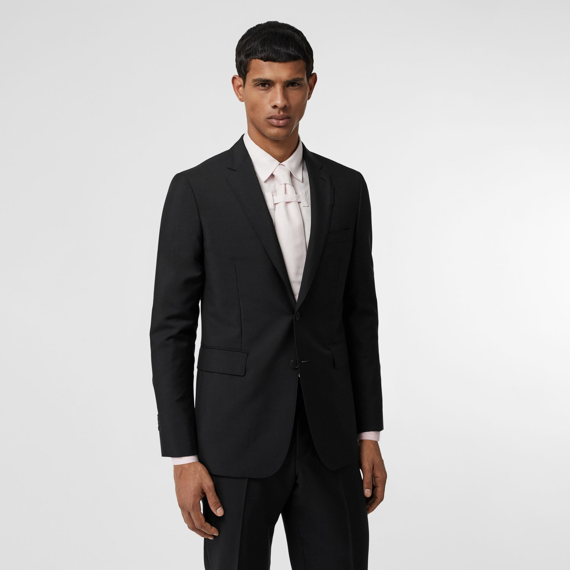 Slim Fit Wool Mohair Suit in Black - Men | Burberry United Kingdom - gallery image 6