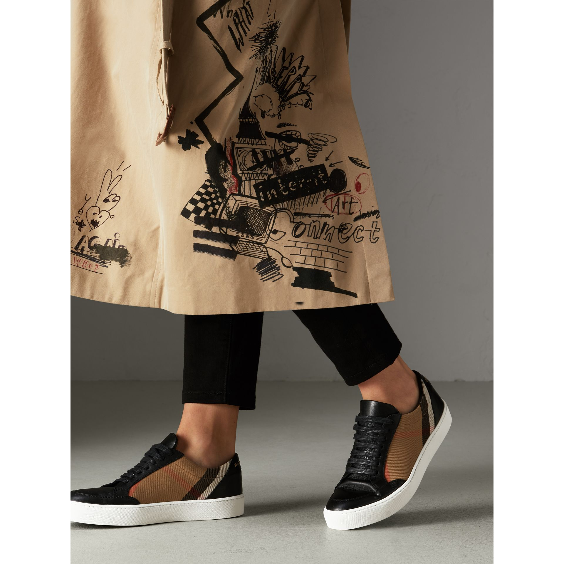 Check Detail Leather Sneakers in House Check/black - Women | Burberry Hong Kong - gallery image 2