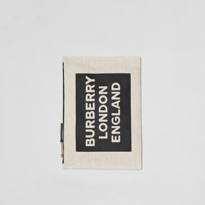 Logo Cotton Canvas Pouch by Burberry