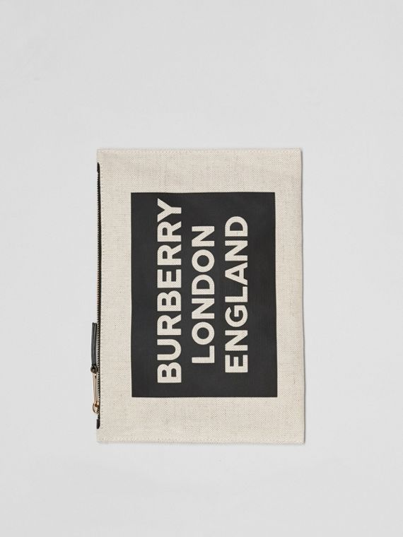 Logo Cotton Canvas Pouch in Natural