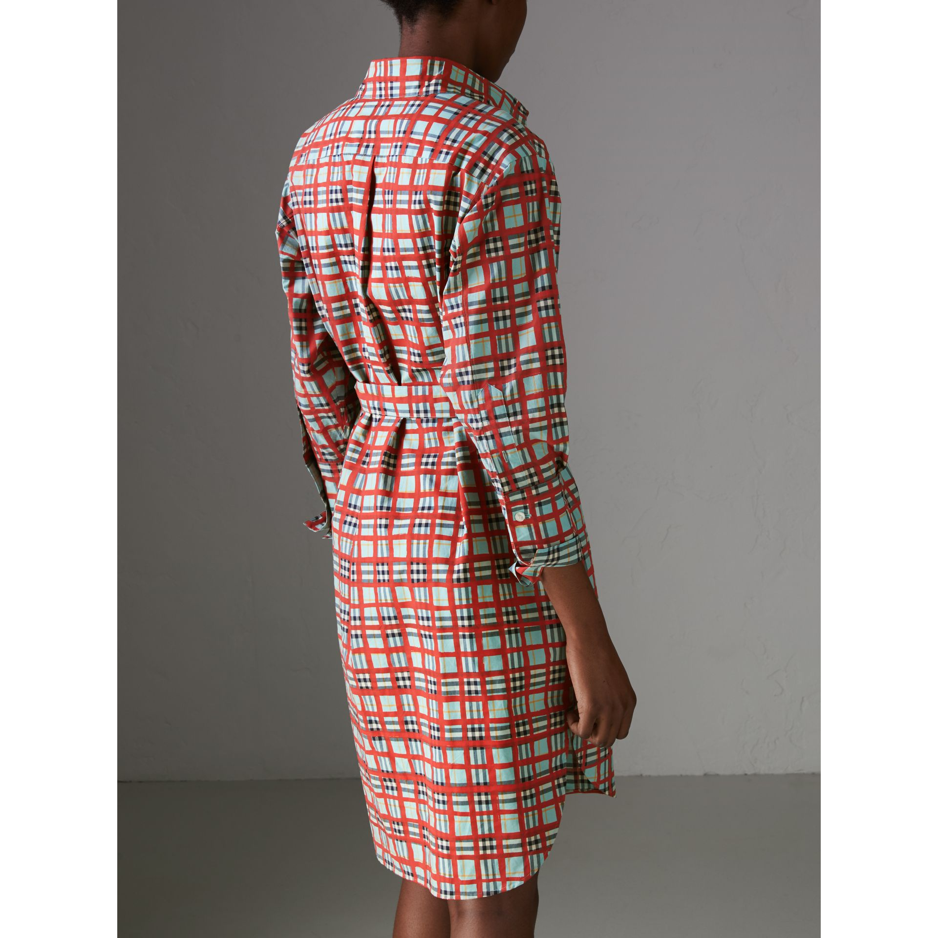 Painted Check Cotton Tie-waist Shirt Dress in Bright Aqua - Women | Burberry Canada - gallery image 2
