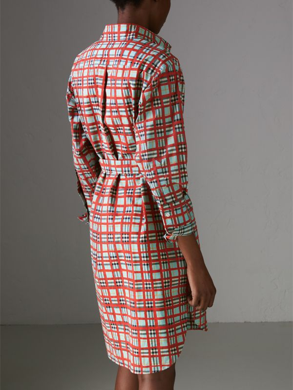 Painted Check Cotton Tie-waist Shirt Dress in Bright Aqua - Women | Burberry - cell image 2