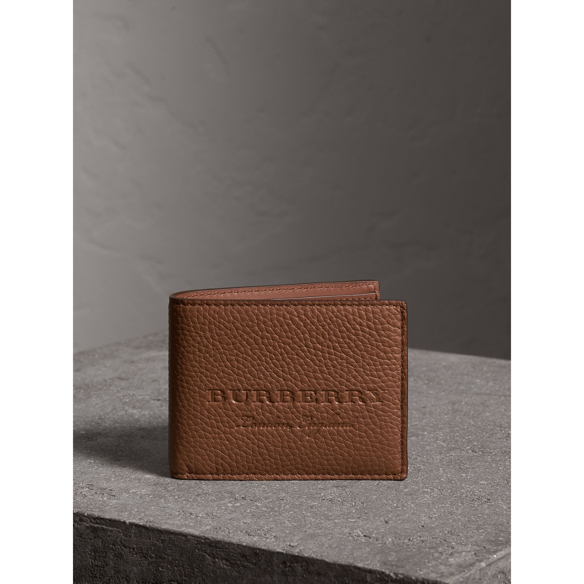 Textured Leather Bifold Wallet in Chestnut Brown - Men | Burberry Singapore - gallery image 4