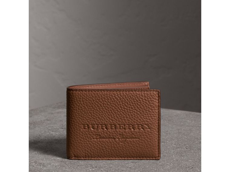 Textured Leather Bifold Wallet in Chestnut Brown - Men | Burberry United States - cell image 4