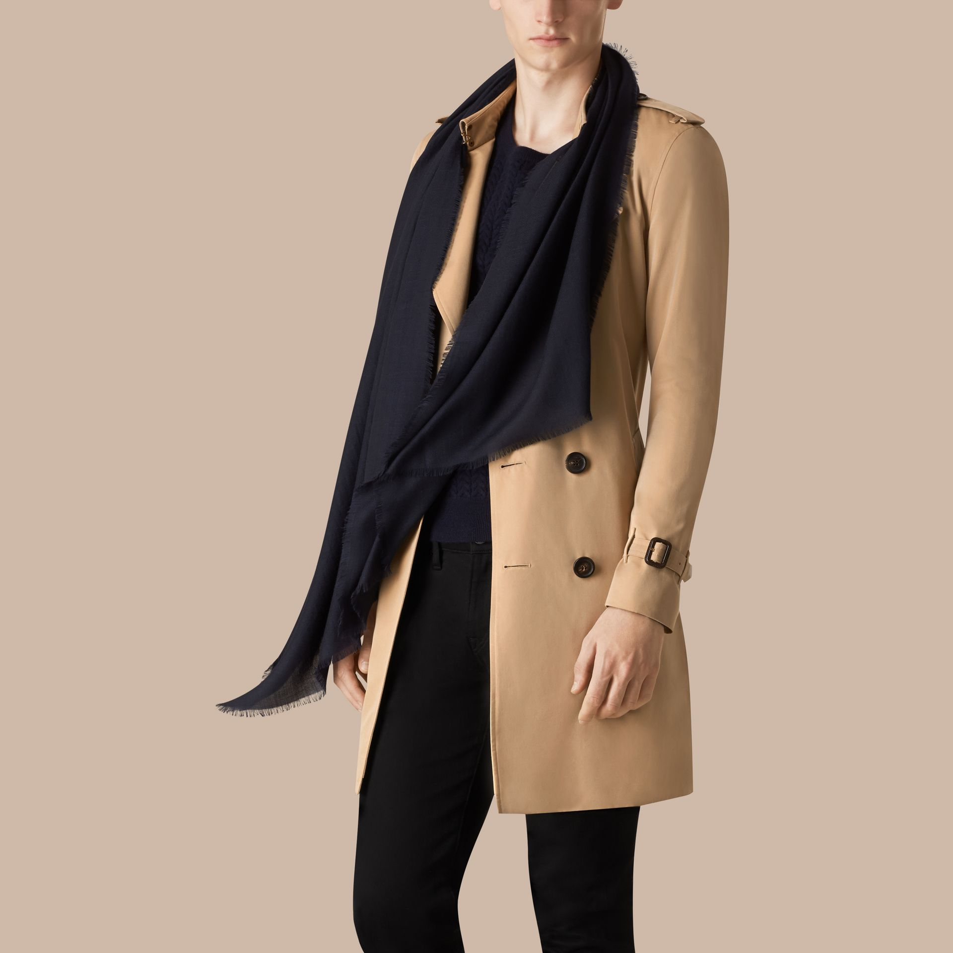 Navy The Lightweight Cashmere Scarf Navy - gallery image 4