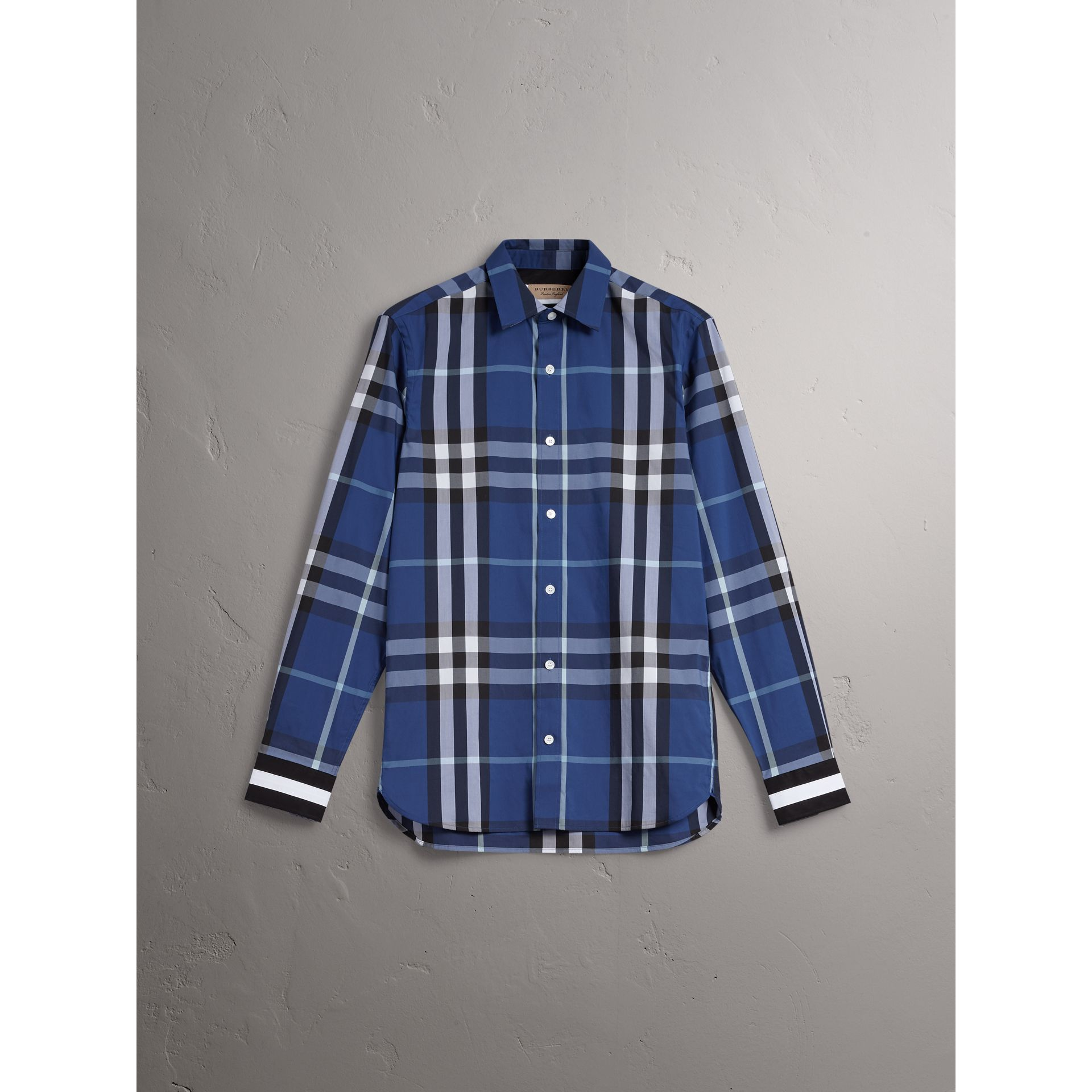 Striped Cuff Check Cotton Blend Shirt in Cobalt Blue - Men | Burberry - gallery image 3