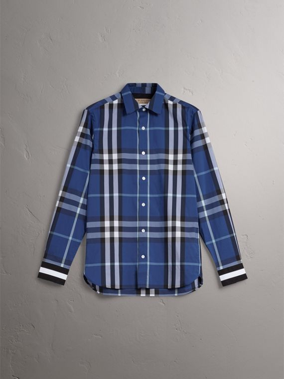 Striped Cuff Check Cotton Blend Shirt in Cobalt Blue - Men | Burberry Singapore - cell image 3