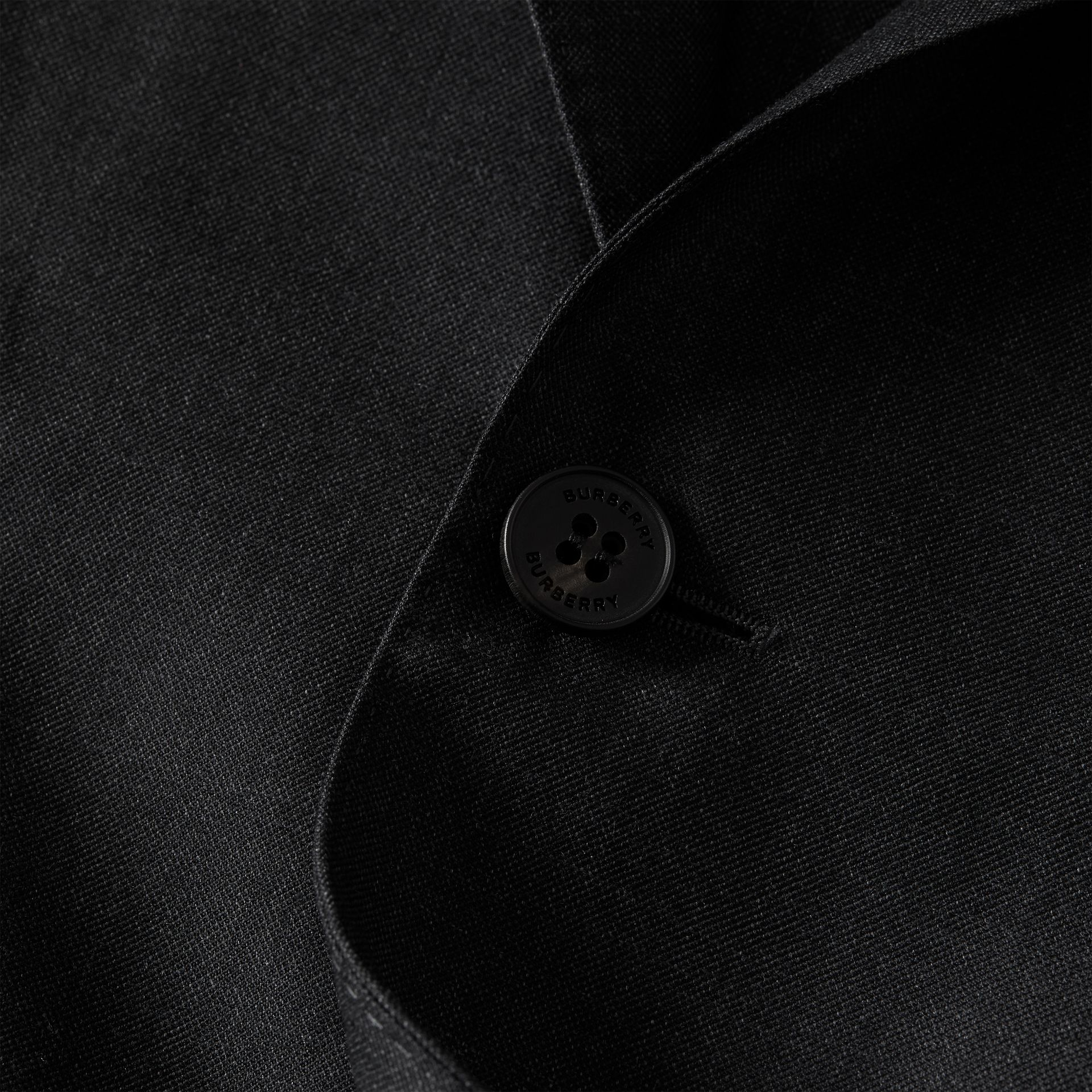 Slim Fit Wool Silk Linen Suit in Dark Grey Melange - Men | Burberry United Kingdom - gallery image 8