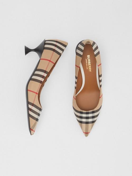 Burberry Shoes 빈티지 체크 코튼 펌프스