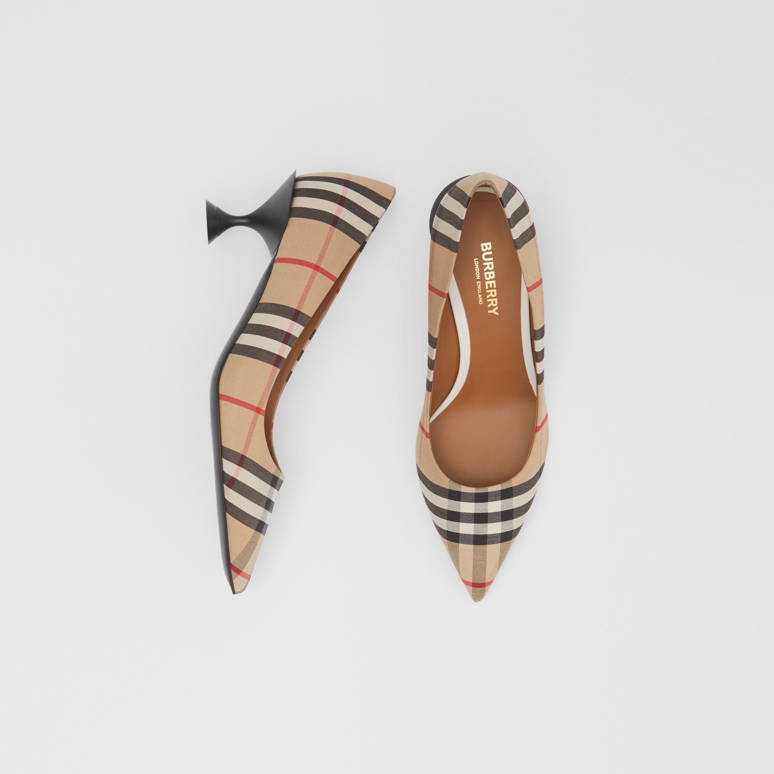 Vintage Check Cotton Pumps in Archive Beige - Women | Burberry - 1