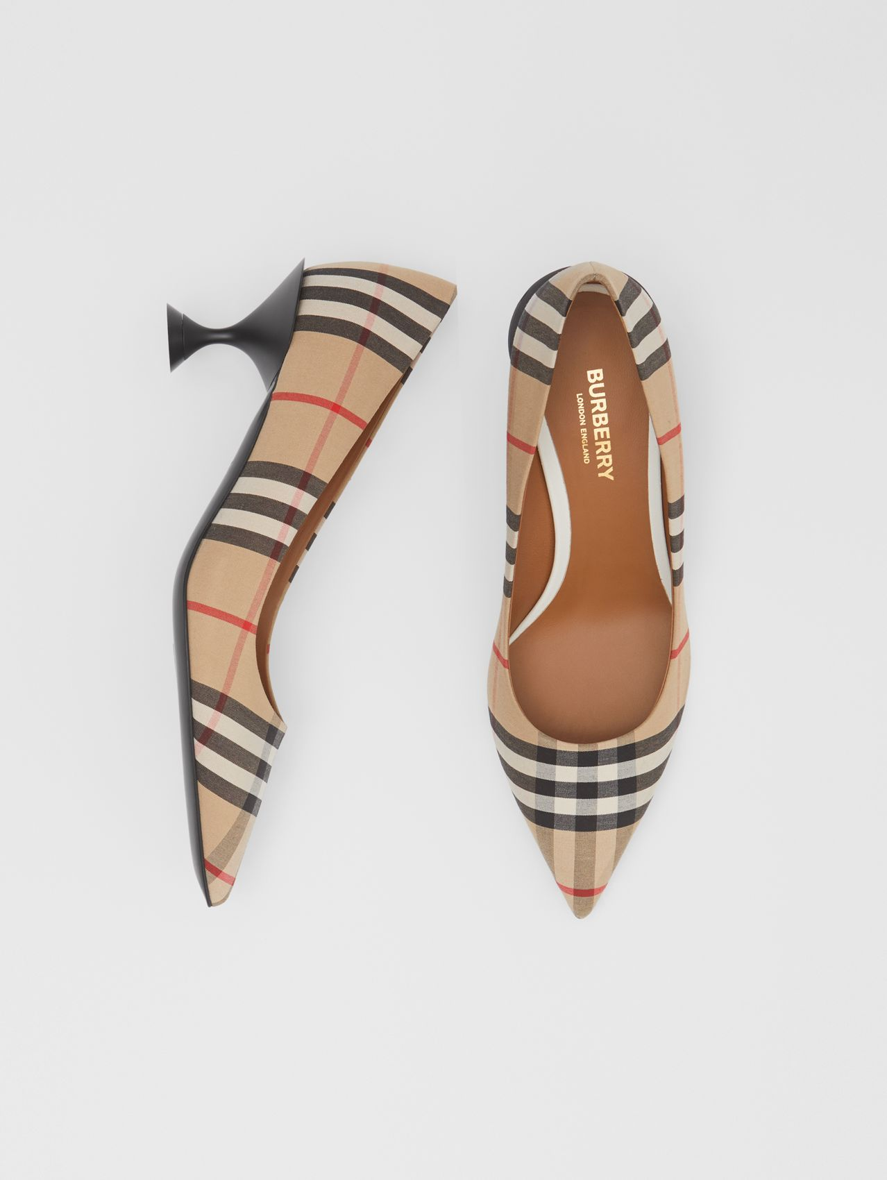 Vintage Check Cotton Pumps in Archive Beige