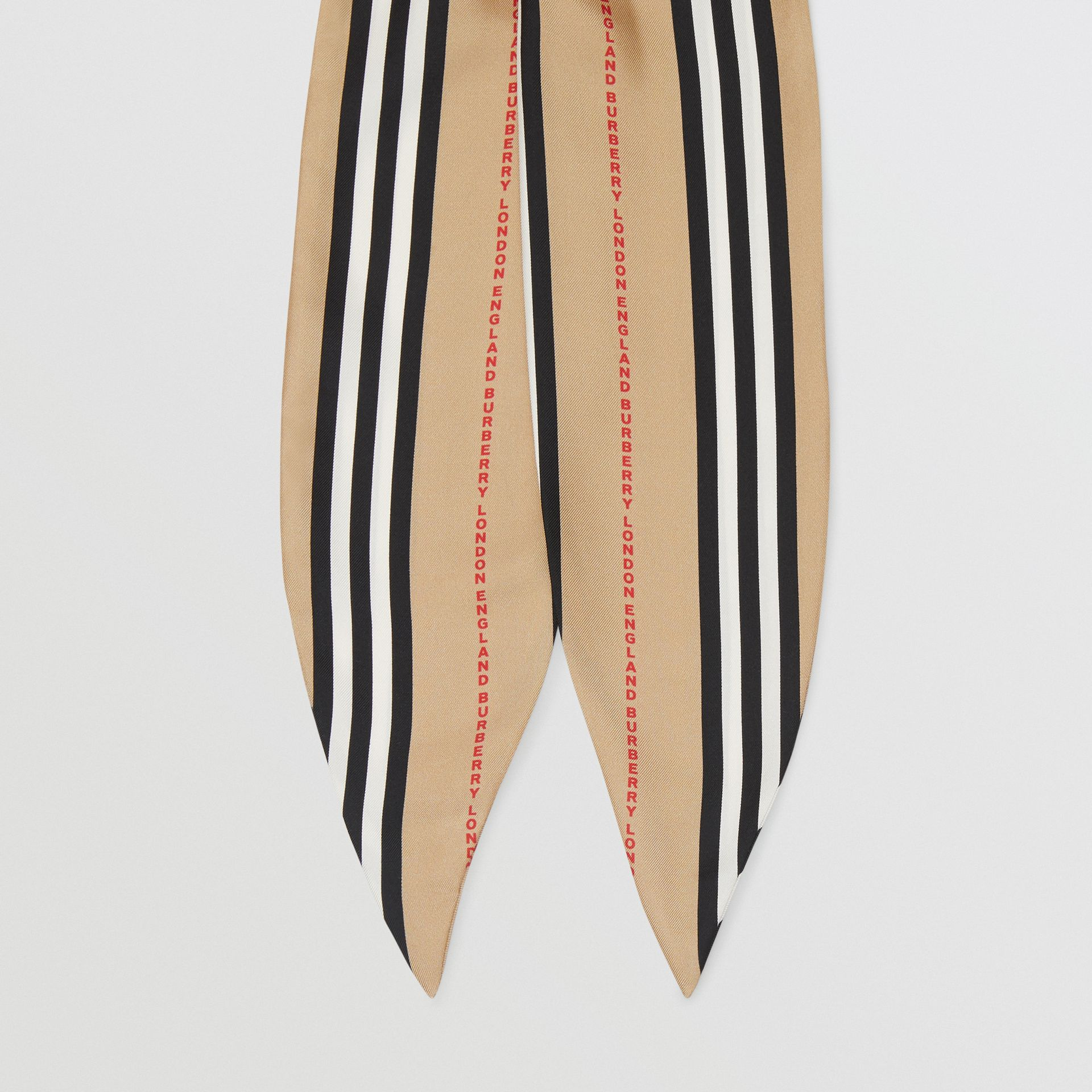 Icon Stripe Print Silk Hair Scarf in Archive Beige - Women | Burberry United States - gallery image 2