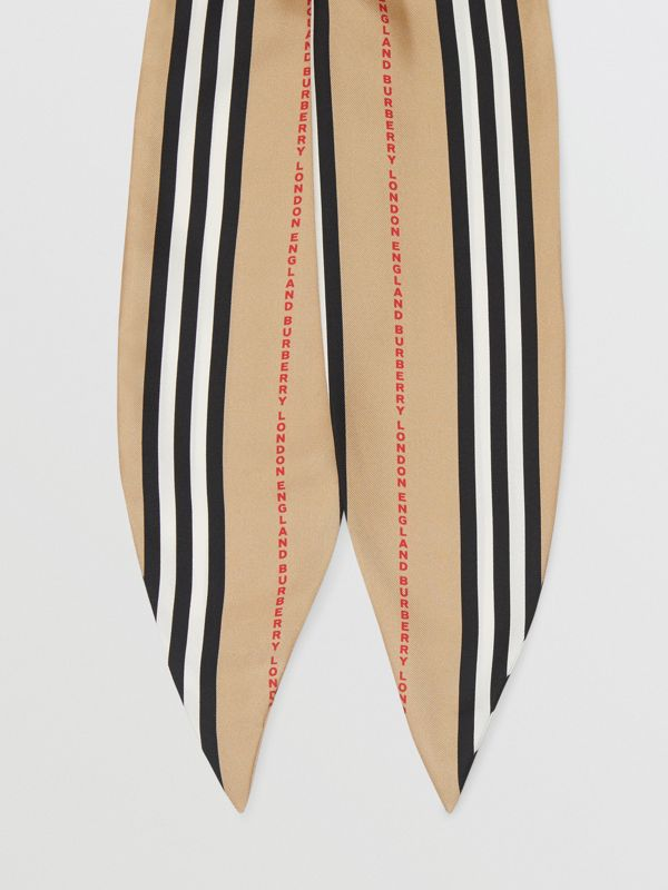 Icon Stripe Print Silk Hair Scarf in Archive Beige - Women | Burberry United States - cell image 2
