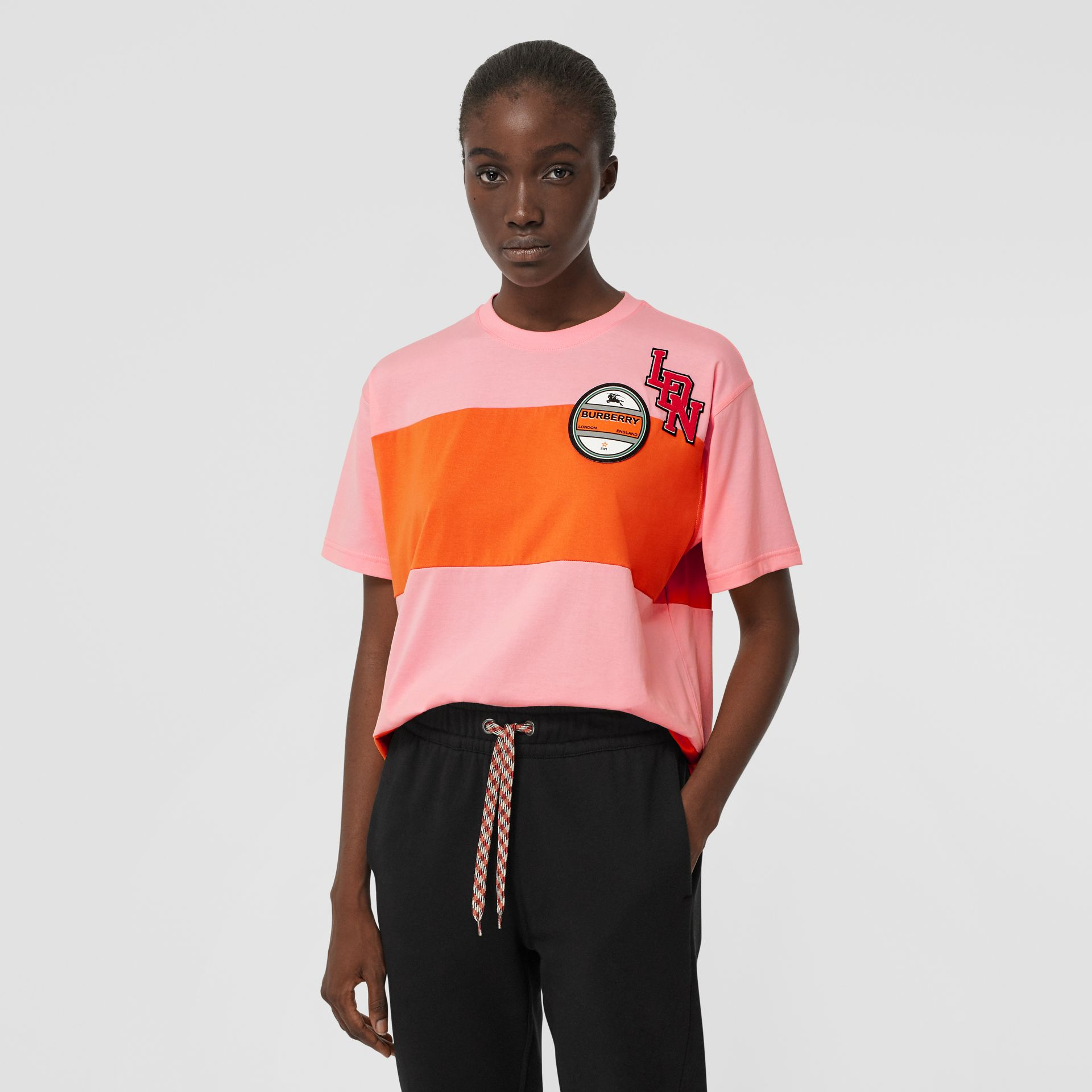 Logo Graphic Panelled Cotton Oversized T-shirt in Candy Pink - Women | Burberry - gallery image 5