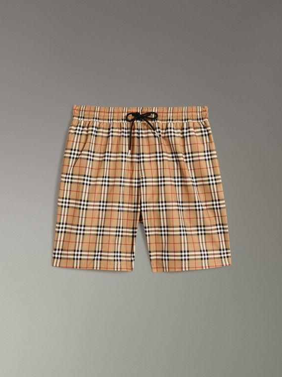 Vintage Check Drawcord Swim Shorts in Camel