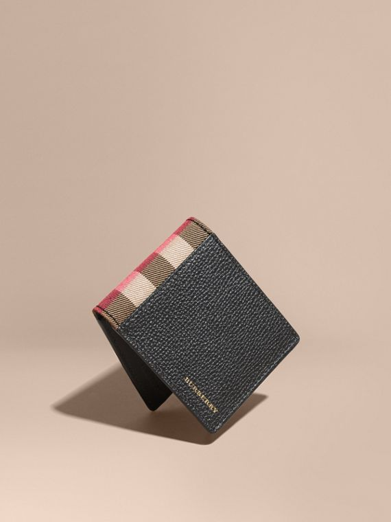 Grainy Leather and House Check Bifold Wallet in Black | Burberry Australia