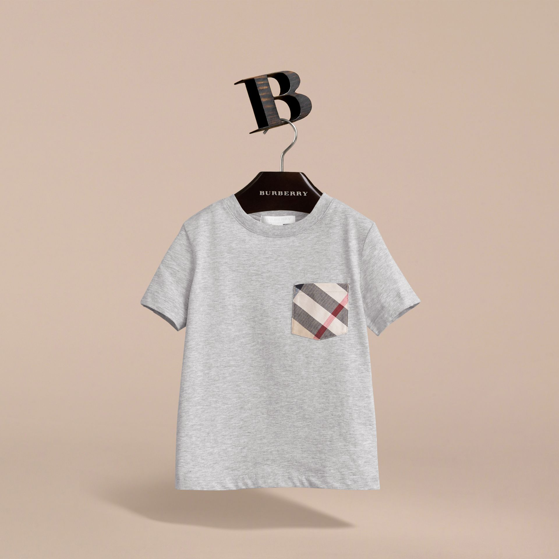 Check Pocket Cotton T-shirt in Grey Melange - Boy | Burberry - gallery image 3