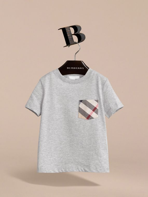 Check Pocket Cotton T-shirt in Grey Melange - Boy | Burberry - cell image 2